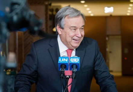 Mr. Antonio Guterres former United Nations High Commissioner for Refugees addressed the press at the stakeout after the casual meeting with member states